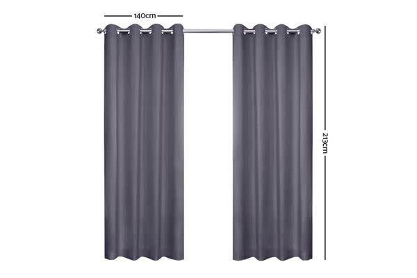Art Queen 2 Panel 140 x 213cm Block Out Curtains (Grey)