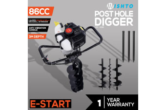 Post Hole Digger 86cc Posthole Earth Auger Petrol Drill Bits Bore 3 Augers 3 Ex