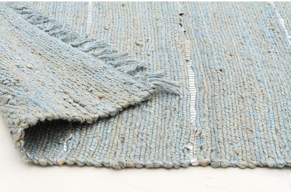 Saville Jute and Leather Rug Blue 220x150cm