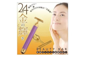 24K Golden Pulse Beauty Bar Firming Massager Gold Face Roller Japan Design Pink