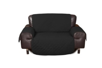 2 Seater Quilted Sofa Protector Throw Furniture Protector Cover BLACK