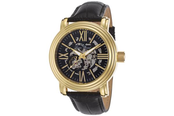 Lucien Piccard Domineer Automatic Gold-Tone Steel Case Black And Skeletonized Dial Black Genuine Leather Strap (LP-11912-YG-01)
