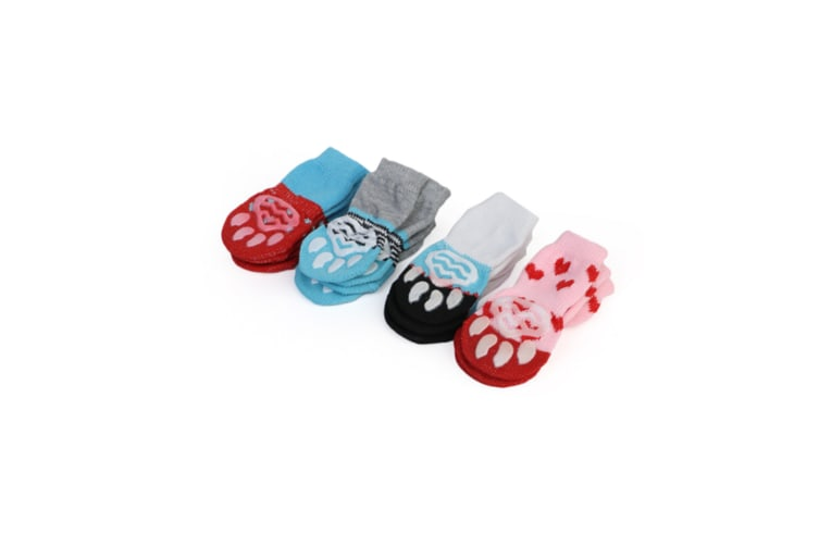 4Pcs Of Set Anti-Slip Pet Socks Puppy Dog Paw Protectors For Indoor Wear Red S