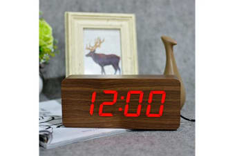 Red Led Wooden Alarm Clock Temperature Display  Battery Woodgrain Brown 6016