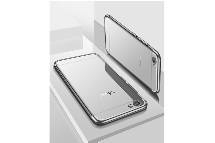 Three Section Of Electroplating Tpu Slim Transparent Phone Shell For Vivo Silver Vivoy71