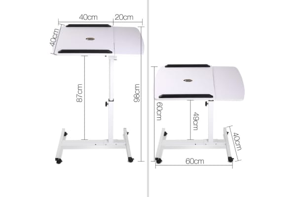 Rotating Mobile Laptop Adjustable Desk with USB Cooler (White)