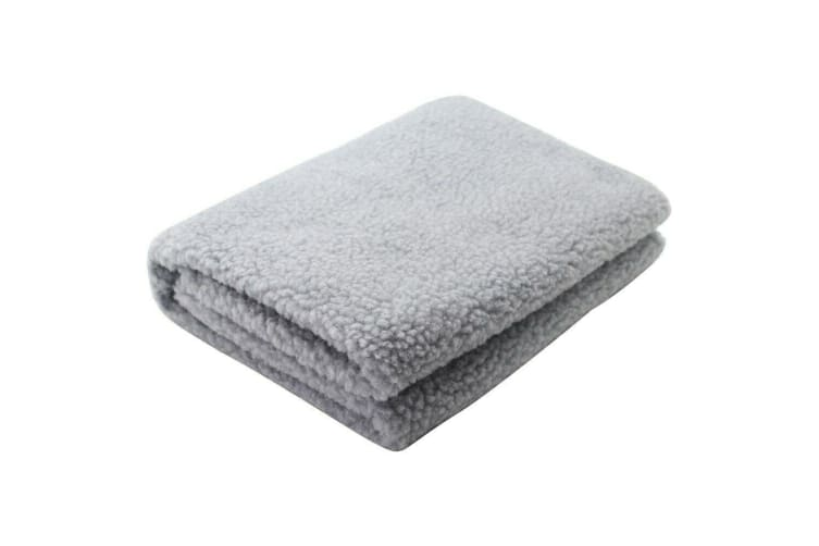 Light Grey Sherpa Pet Blanket Dog Cat Rug Puppy Kitten Washable Soft Warmth Fleece 1x1M