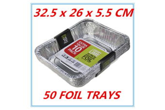 50 x Aluminum Foil Trays BBQ Disposable Roasting takeaway Oven Baking Party TRAY