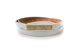 Leather Belt With Yellow Gold Buckle Gold-Leather/Silver