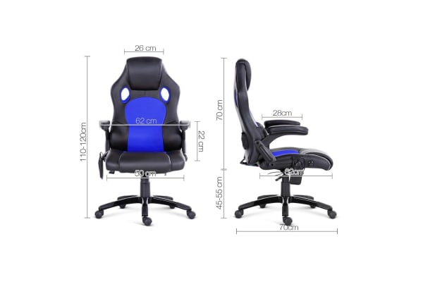 8 Point Massage Racer PU Leather Office Chair (Black/Blue)