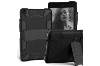 For Samsung Galaxy Tab A 8.0-Inch (2019) Case  Shockproof Colourblock Silicone Cover with a Stand  Black