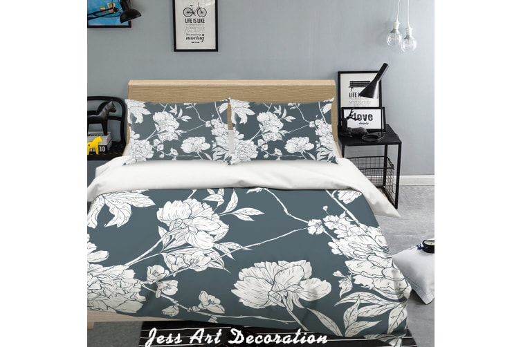 3D White Flowers Black Background Quilt Cover Set Bedding Set Pillowcases  126-Queen