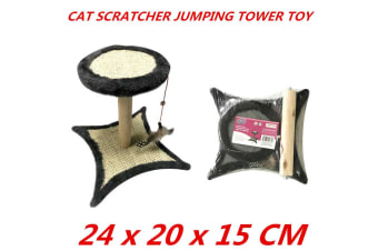 Cat Scratcher Jumping Tower Post Crawling Stand Post Pet Toy Claw Mice 24x20cm