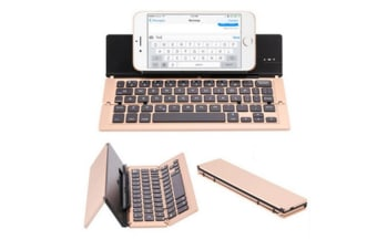 Select Mall Bluetooth Folding Keyboard 3 System Universal Mobile Phone Tablet Aluminum Folding Wireless Keyboard-Gold