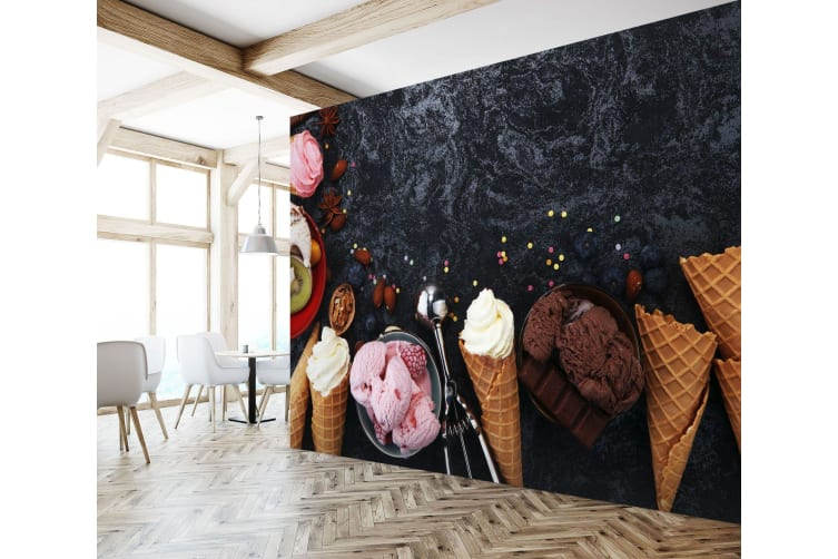 3D Chocolate Walnut Ice Cream 745 Self-adhesive Vinyl, XXXXL 520cm x 290cm (WxH)(205''x114'')