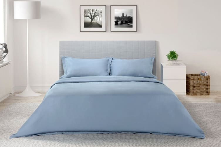 Ovela 1000TC Cotton Rich Luxury Quilt Cover Set (Queen, Slate Blue)