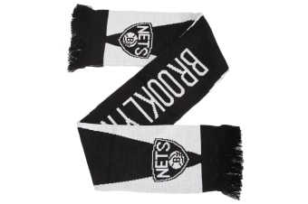 Brooklyn Nets Official NBA Basketball Crest Optics Scarf (Black/White)
