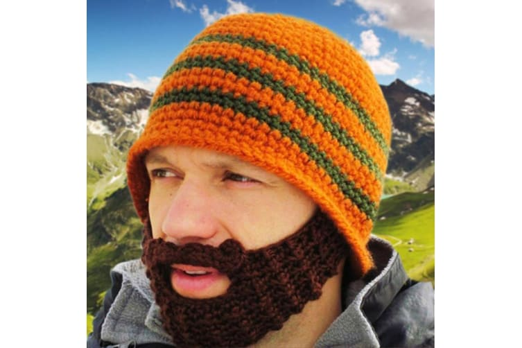 Knitted Beard Beanie - Blue/Green