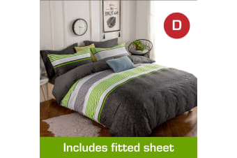Double Size Emerald Design Cotton Quilt Cover + Fitted Sheet