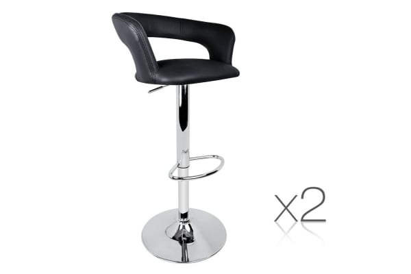 Set of 2 PU Leather Soft Back Kitchen Bar Stool (Black)