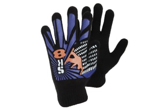 Boys Black Winter Magic Gloves With Rubber Print (Design 5) (One Size)