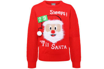 Christmas Shop Childrens/Kids 3D Countdown Jumper With Touch Fastening (Red) (2-3 UK)