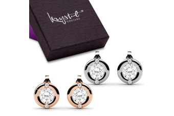 Boxed Millionaire Circle Earrings Set Embellished with Swarovski crystals
