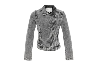 Brave Soul Womens/Ladies Ria Denim Biker Jacket (Grey Wash/Silver) (12)
