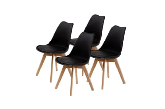 Replica Eames PU Padded Dining Chair - BLACK X4