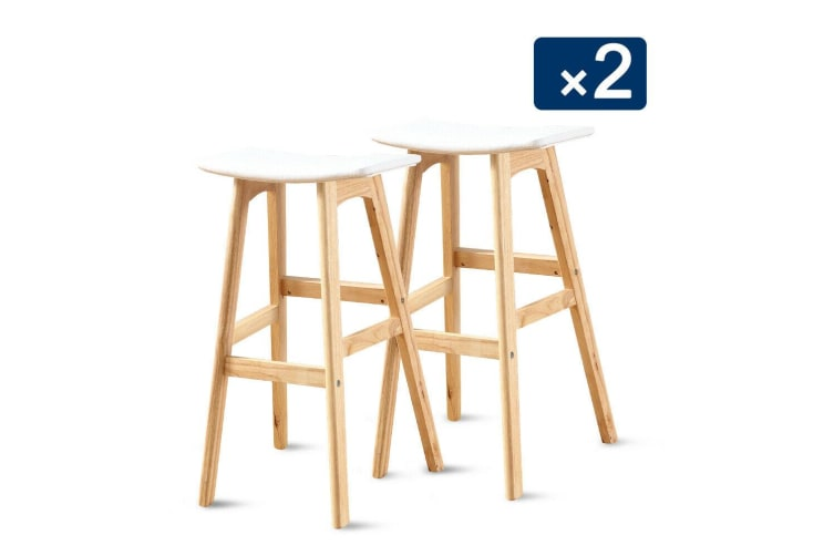 2x Beech Wood Bar Stool Wooden Barstool PU Dining Chairs Home Kitchen Counter
