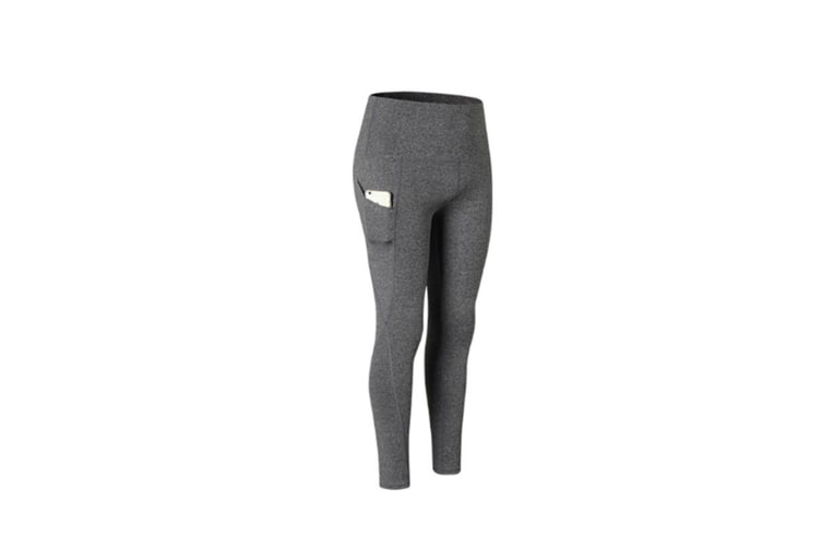 High Waist Yoga Pants With Pockets,Tummy Control,Workout Pants For Women - Grey Grey XXL