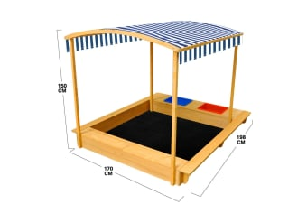 Extra Large Kids Sandbox Wooden Sandpit Outdoor Children Play Set Toy with Canopy