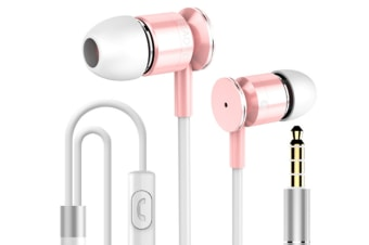 Select Mall Universal Mobile Phone Wire Control Metal Earphone Stretch Line In-ear with Wheat Music Headphones-Pink