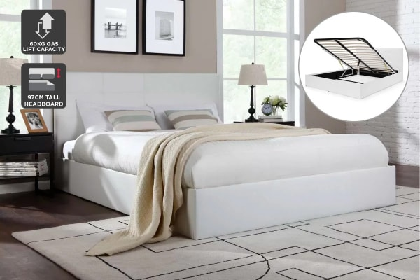Ovela Bed Frame - Florence Gas Lift Collection (White, Queen)