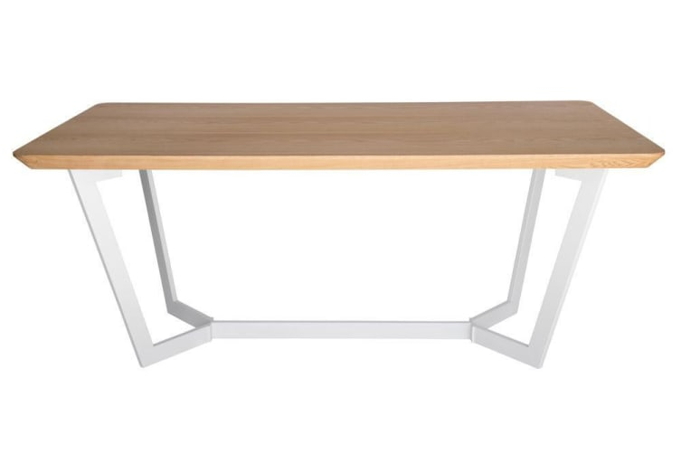 Delta Collection | Wood Dining Table | Matte White & Natural | 180cm