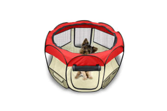 Pet Soft Playpen Dog Cat Puppy Play Large Round Crate Cage Tent Portable 2 Size  -  RedL