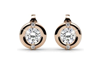 Millionaire Circle Stud Earrings Embellished with Swarovski crystals