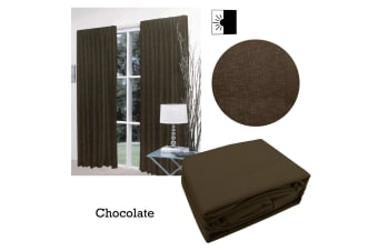Pair of Faux Linen Blockout Pinch Pleat Curtains Chocolate to Fit 240 x 221cm
