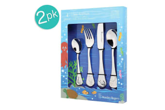 2x 4pc Stanley Rogers Sea Animals Children Kids Cutlery Set Stainless Steel SL