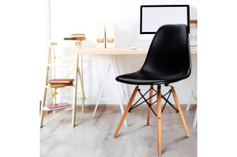 Artiss Retro Replica Eames DSW Dining Chairs Cafe Chair Kitchen Wood Black x4