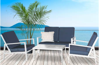 Milano 4 Piece Outdoor Lounge Set Blue/White