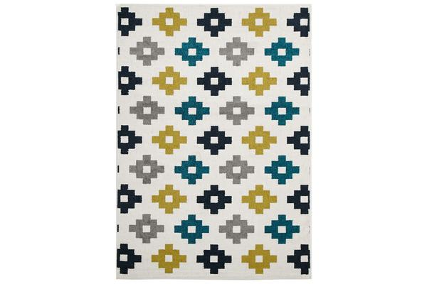 Indoor Outdoor Pixel Rug Blue Green White 230x160cm