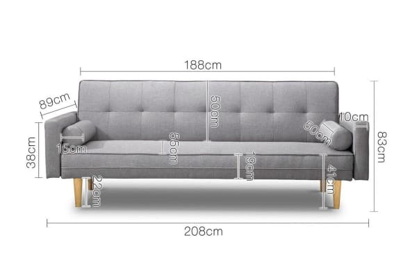 Convertible 3 Seater Linen Look Sofa (Grey)