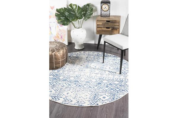 Amelia Blue, Navy & Bone Ivory Coastal Durable Round Rug 200x200cm