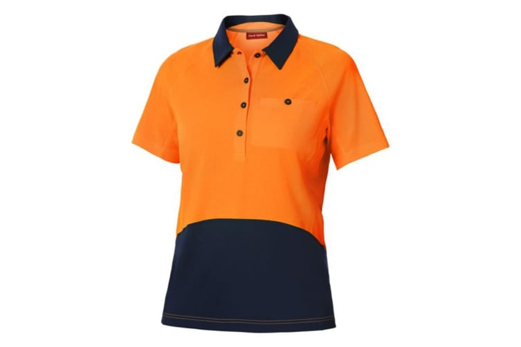 Hard Yakka Women's Koolgear Hi-Vis Short Sleeve Polo (Orange/Dark Navy, Size XS)