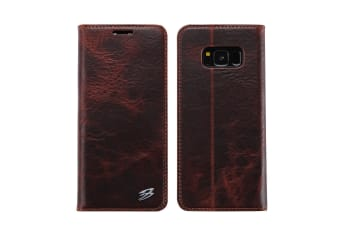 For Samsung Galaxy S8 Wallet Case Fierre Shann Genuine Cow Leather Cover Black