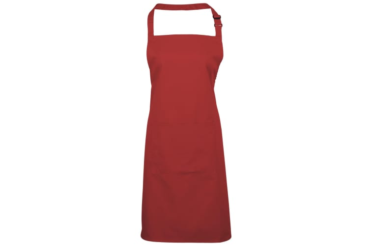 Premier Ladies/Womens Colours Bip Apron With Pocket / Workwear (Red) (One Size)