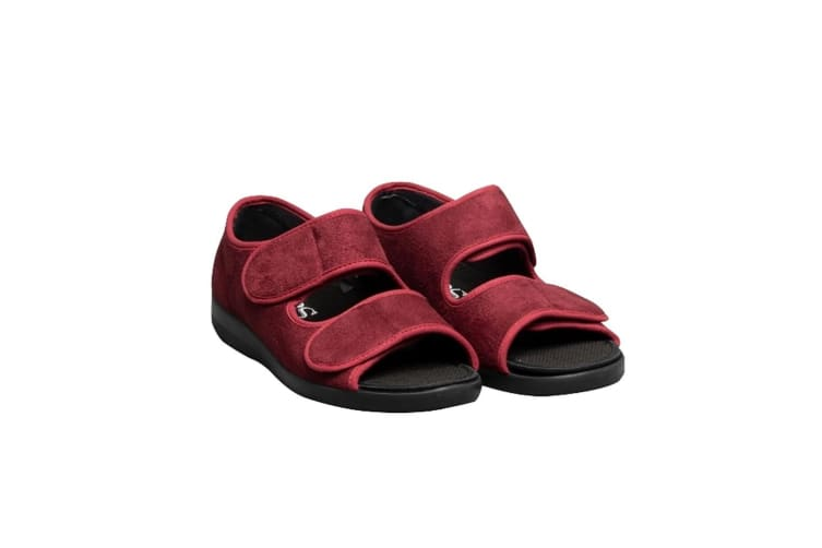 GBS Brompton Touch Fastening Open Toe Slipper / Slippers (Burgundy) (44 EUR)
