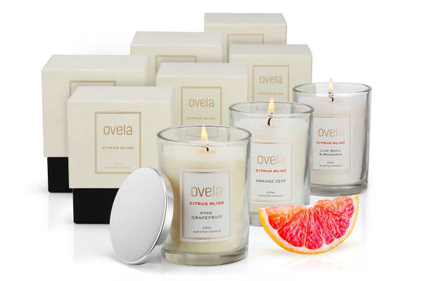 Ovela Scented Soy Wax Candle 6 Piece Collection (Citrus Bliss)