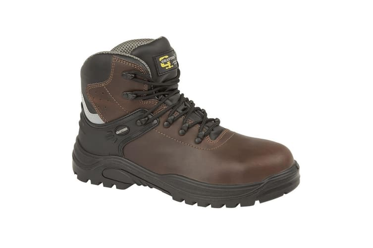 Grafters Mens Transporter Padded Ankle Mid Safety Boots (Dark Brown) (11 UK)